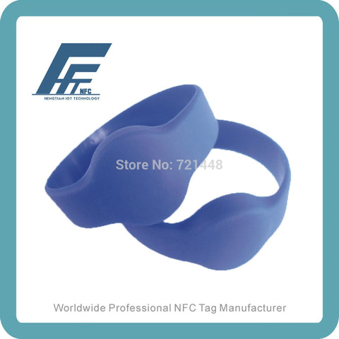 NFC Silicone Wristband tag NTAG213 Blue Round Silicone Wristband Fits male adults  Dia74 mm 100pcs