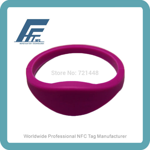100pcs  NTAG213 Purple  Silicone Wristband  NFC Silicone Wristband Tag  Dia65mm Fits Female adults