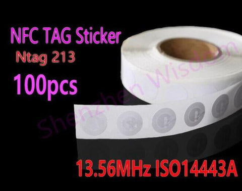 100pcs/Lot  NTAG213 NFC Tags 13.56MHz ISO 14443A  All NFC Phone Available NFC Tag Sticker Adhesive Labels