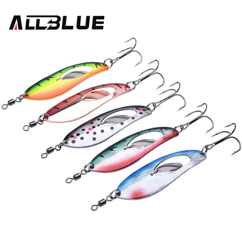 ALLBLUE Metal Fishing Lure 5pcs/lot 15.8g Spoon Lure Spinner Bait Fishing Tackle Hard Bait Spinner Bait Isca Artificial Peche