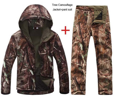 HANWILD Man Winter Waterproof Hunting Fishing Camping Camouflage Outdoor Hiking Jacket Suit Army Military Hood Softshell Pant S2