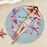 146cm White Ball Tassel Beach Towel Mermaid Printed Women Fashion Yoga Mat Round Blacket Tippet Bath Towel