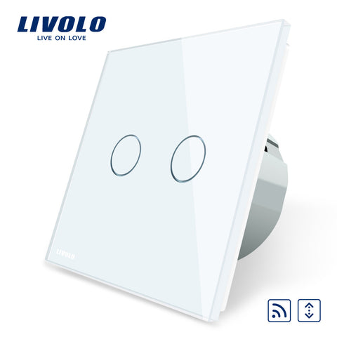 FREE Shipping, Livolo EU Standard Touch house home led remote curtains Switch, Luxury White Crystal Glass Panel, C702WR-1/2/3/5