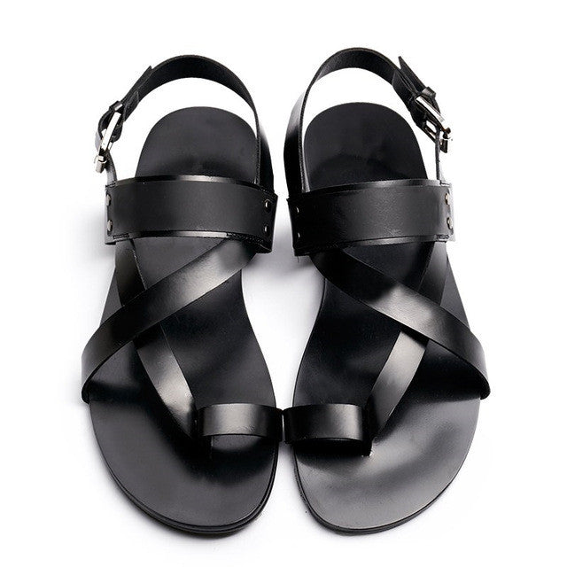 93c211aa283 US 6-10 Men Ankle Strap Genuine Leather T-Strap Sandals Casual Top ...