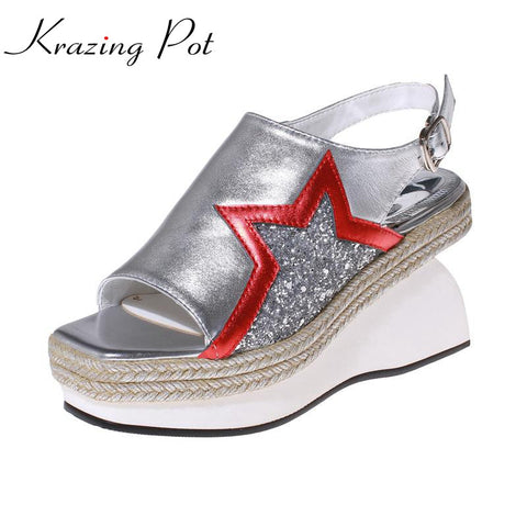 fashion large size peep toe brand slingback shoes star women sandals flats bling retro Straw runway wholesale casual shoes L0f6