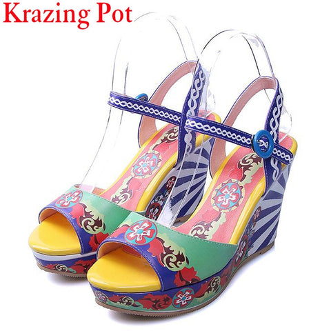 Fashion Mixed Colors Print Luxury Flowers Superstar Women Brand Buckle Straps Platform Wedges Chinese Style Summer Sandals L27