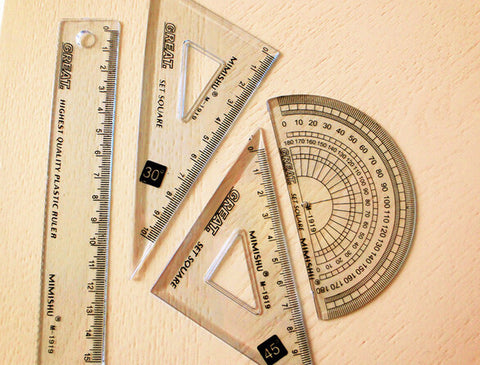 Set Of 4 Protractor Geometry Set Square Drawing Drafting Triangle Ruler For School College