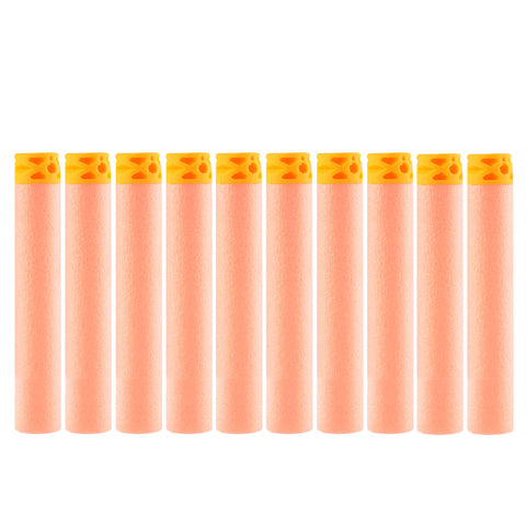 Pack of 10 Dart Refills Flat Soft Head Foam Bullets for Nerf Toy Gun 7.4c*1.3cm - Orange