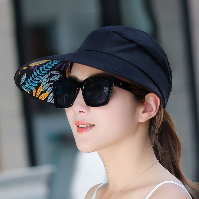 8b33eaf9349de Summer Wide Cap Sun Hats visor Sun Casual Hats for women with big heads  beach hat