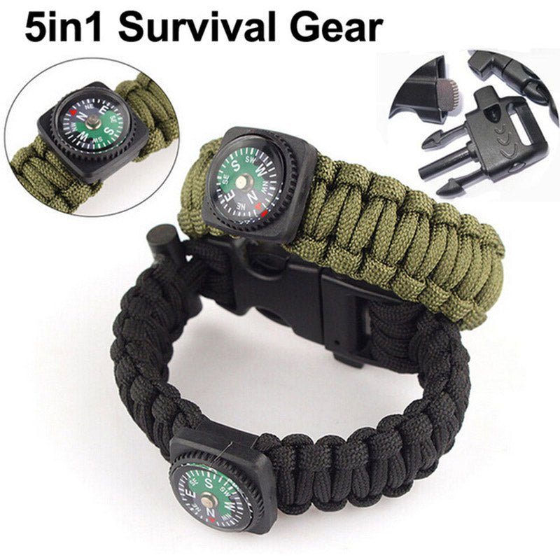 Hot Sale YYEDC Outdoor EDC Survival Bracelet Rope with Compass Whistle 2  Colors Portable Multifunction Emergency Camping Tools