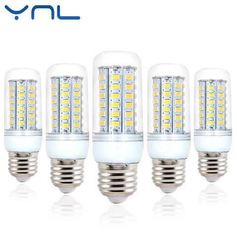 Ynl E27 lampada LED Lamp Corn Bulb SMD5730 220V 24 36 48 56 69 LEDs Chandelier Candle Lighting Energy saving for Home Decoration
