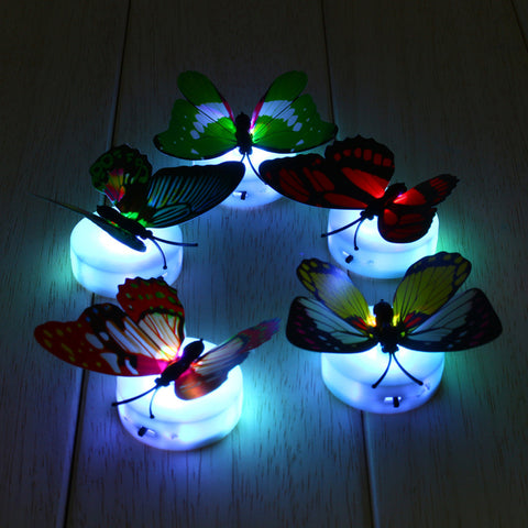 Brand New Colorful Butterfly LED Night Lights Lamp Beautiful Home Decorative Wall Nightlights Random