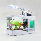 2017 Popular USB Desktop Mini Fish Tank Aquarium Glass LCD Timer Clock LED Lamp Light Black/White led aquarium fish tank