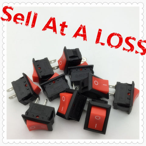 10pcs/lot RED 15*21mm SPST 2PIN ON/OFF G127 Boat Rocker Switch 6A/250V 10A/125V Car Dash Dashboard Truck RV ATV Home