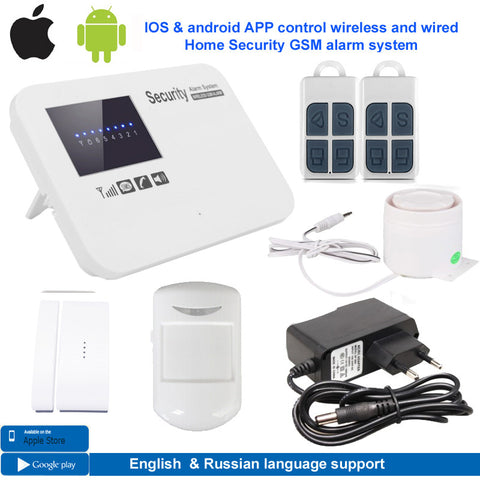 IOS & android APP control wireless wired  bruglar GSM alarm system home security intercom English russian language free shipping