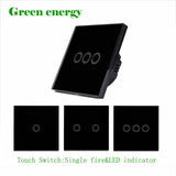 MiniTiger EU Standard Luxury Black Crystal Glass ,Wall Switch, Touch Switch, Normal 1/2/3 Gang 1 Way Switch,170-250V