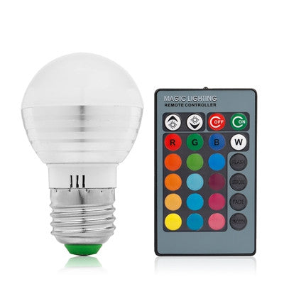 OSIDEN E27 16 Colors Changing Dimmable 3W RGB LED Light Bulb + 24key IR Remote Controller for Home Decoration/Bar/Party