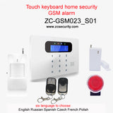 English Russian Spanish Czech French Polish Free shipping Touch keyboard LCD display home security gsm alarm system