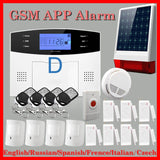 DHL Free Shipping!English Russian Spanish French Voice Wireless GSM Flash Siren Home security Alarm systems LCD Keyboard Smoke