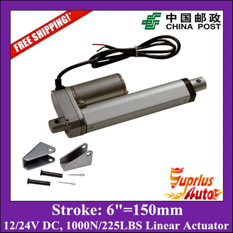 Free Shipping electric linear actuator with mounting bracket, 10mm/s 150mm/6inch stroke 1000N/225LBS 12V DC mini linear actuator