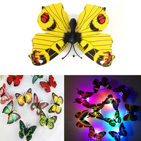5pcs Home Decoration Color Night Light Flashing Lamp ABS LED Butterfly Night Lamp Artificial Wall Nightlights