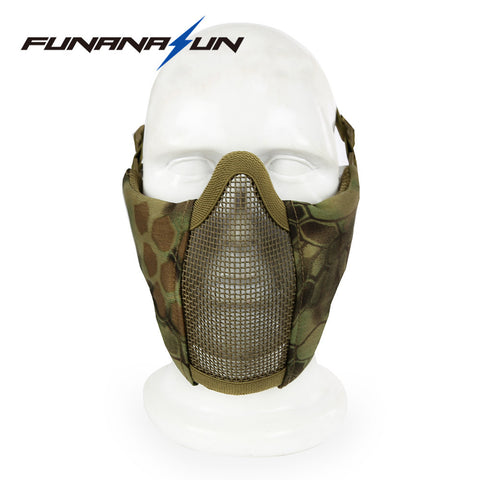 Tactical Hunting Metal Wire Half Face CS field Mask Mesh Airsoft Mask Face Military Mask For Airsoft Paintball Outdoor Resistant