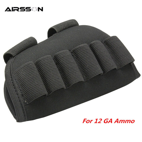 Hunting Gun Accessories Rifle Shotgun Butt Stock Holster 12 GA Bullet Pouch with Loop CS Airsoft Military 6 Rounds Ammo Holder