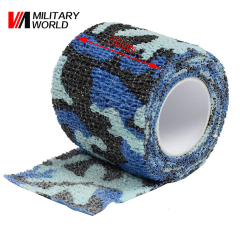 1 Roll 4.5M Airsoft Paintball Combat Tape Military Army Camo Stretch Bandage Camping Tape Camouflage Durable Tape Ocean Camo