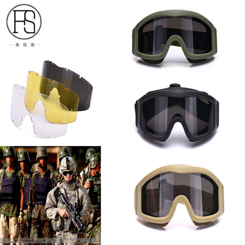Outdoor Activities Eyewear Paintball Snowboarding Sunglasses Tactical Goggles Military Airsoft Glasses 3 Interchangeable Lenses