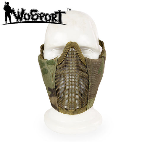 Paintaball Half Lower Face Metal Steel Net Mesh Hunting Tactical Protective Airsoft Mask Halloween Party Half Face Mask