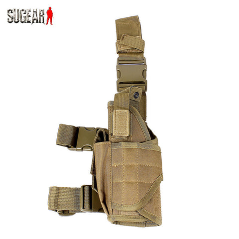Tactical Paintball Airsoft Universal 600D Nylon Pistol Drop Leg Left Hand Holster Tan Adjustable Drop Leg Pouch for Hunting