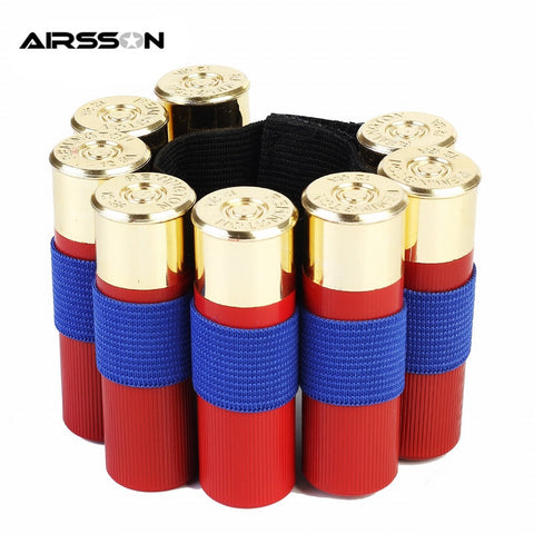 2Pcs 8 Round Bullet Ammo Carrier Bullet Holder Wrist Strap Tactical Military Portable Ammo Cartridge Holder Paintball Carrier