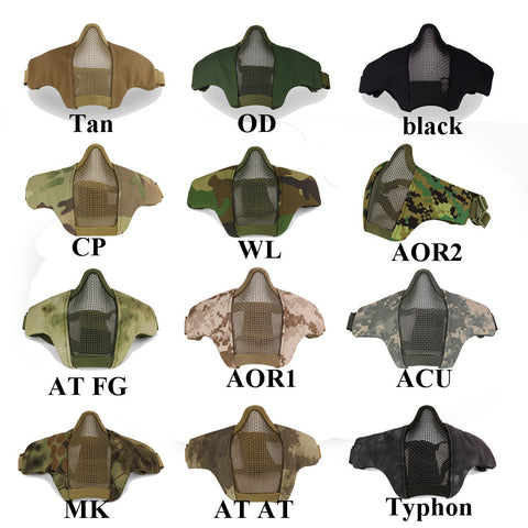 1000D Tactical Metal Steel Wire Half Face Mask Low Carbon Anti-Impact Fencing Mask Airsoft Paintball Net Mesh Mask