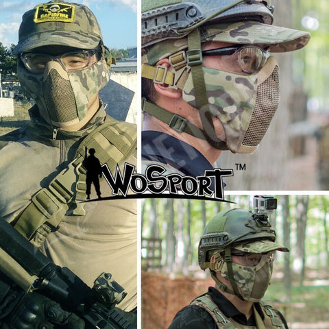 Tactical Foldable Half Face Mask Paintball Protective Mesh Mask Cycling Lower Face Mask for Military Airsoft Cs Game Cosplay