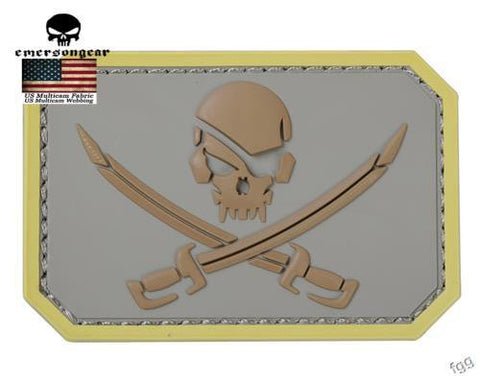 Emersongear Skull 3D PVC Patch Airsoft Tactical Pirate Captain  Paintball Military Skeleton Rubber Badge PVC Patch Custom