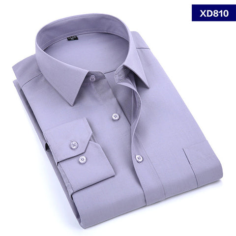 2017 New Men's Dress Shirt Solid Color Plus Size Black White Blue Gray Chemise Homme Male Business Casual Long Sleeved Shirt