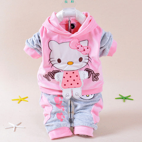2017 New Baby Children Clothes Suits Velvet Hello Kitty Cartoon T Shirt Hoodies Pant Twinset Long Sleeve Children Clothing Sets