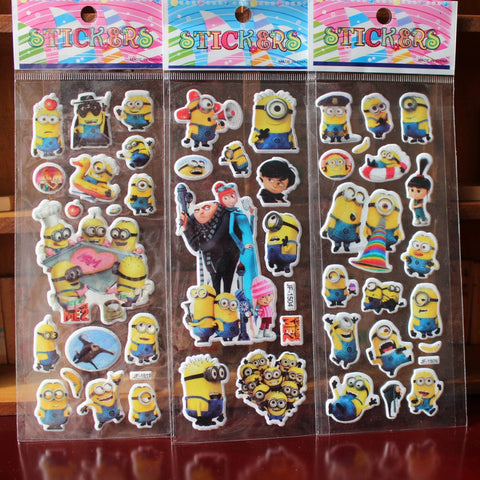 & 10 sheets/lot 3d Cartoon minions movie  Kids Stickers Toys Bubble stickers Teacher Lovely Reward Stickers  kids gift adhesive