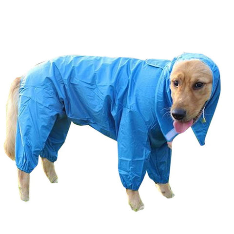 6 Size Medium Large Pet Dog Cool Wearable Raincoat Hoody Clothes Waterproof Rain Jacket Jumpsuit for Big Dogs Golden Retriever