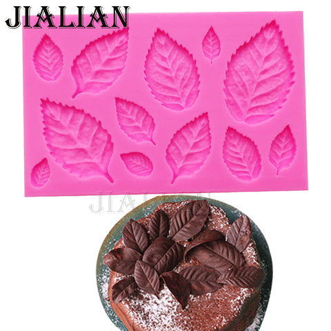 Leaf Shaped Silicone Press Mold Leaves Cake Decoration Fondant cookies tools 3D Food Grade Silicone Mould Gumpaste Candy T0967