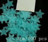 100pcs/bag 3CM&3.8CM Fashion Wonderful Solid Stars Moon Glow in the Dark Kid's Bedroom Corridor Ceiling Fluorescent Wall Sticker