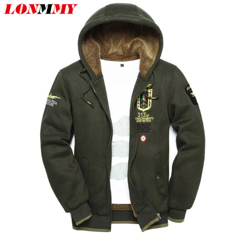 LONMMY 3XL 2017 wool warm winter coats mens hoodies and sweatshirts Cardigan jackets Clothes wear uniform arm tracksuits for men