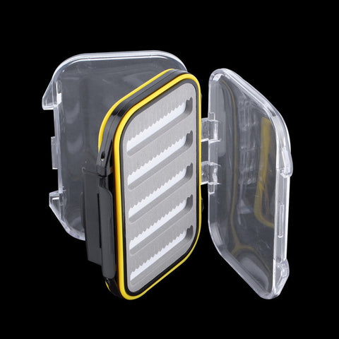 106*76*37mm Plastic Waterproof fly fishing Double Side Clear Slit Foam fly Fishing Box FLY BOX Tackle Case Box drop shipping