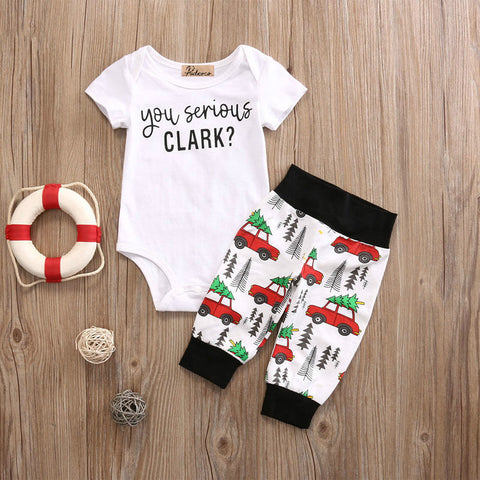 Infant Baby Boy Girl 2pcs Clothes Set Kids Short Sleeve You Serious Clark Letters Romper Tops Car Print Pants 2PCS Outfit Set