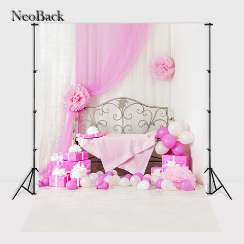 NeoBack 5x7ft Vinyl Cloth Children Kids Birthday Balloon Photography Backgrounds New Born Baby Photo Studio Backdrops P0767