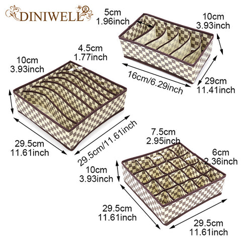 DINIWELL 3pcs/Set Foldable Divider Storage Bra Box Non-woven Fabric Folding Cases Necktie Socks Underwear Clothing Organizer