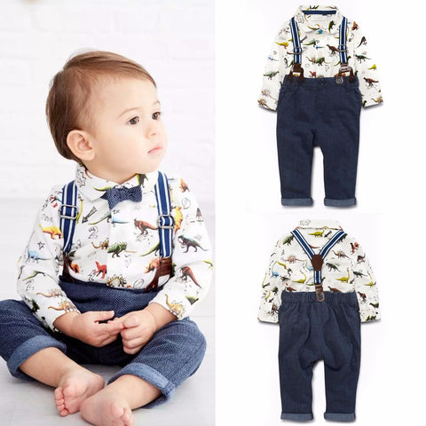 2017 New Baby Boy Spring Gentleman Printed Clothing Sets Suit Newborn Baby Dinosaur Shirt + Suspender Trousers Set Formal Party