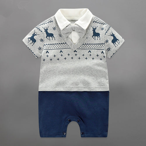 9cb532577 Summer Baby Boy Rompers Newborn Gentleman Clothing Set Cotton Bow ...