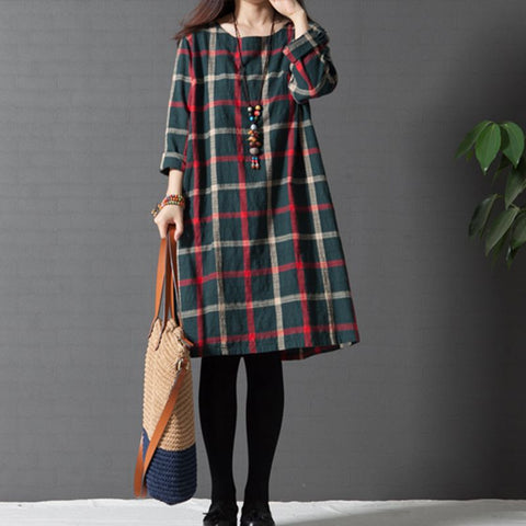 Maternity Clothing Spring Autumn Cotton Linen Maternity Dress Maternity Fashion Plaid One-piece Princess Dress Pregnant Women