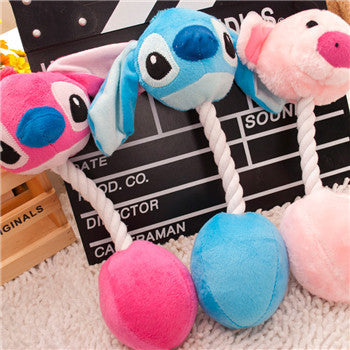 Drop Shipping  3 Cartoon Pet Products Plush Toys Dog Toys Pet Cats Cute Biting Rope Sound Toys 31CM